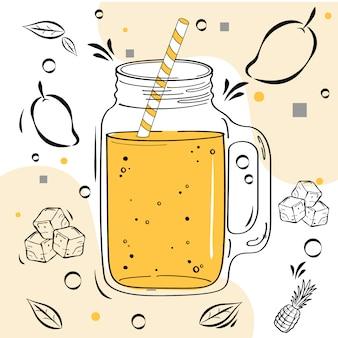 Conjunto de ingredientes de mão desenhada para bebida batido ou desintoxicação na garrafa no estilo doodle