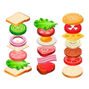 Conjunto de ingredientes de sanduíche e hambúrguer