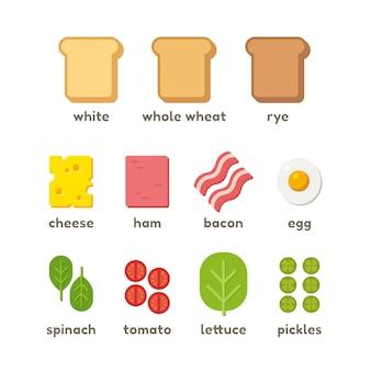 Conjunto de ingredientes do sanduíche