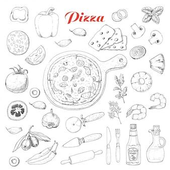 Conjunto de ingredientes isolados para cozinhar pizza