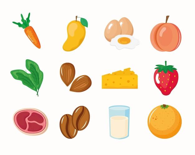 Conjunto de ingredientes orgânicos
