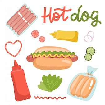 Conjunto de ingredientes para cachorros-quentes, isolado no fundo branco. receita de comida de fato. ilustração plana com letras de mão desenhada.