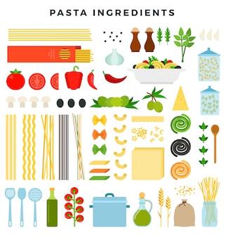 Conjunto de ingredientes para fazer macarrão. diferentes formas de massas, produtos e ferramentas para cozinhar.
