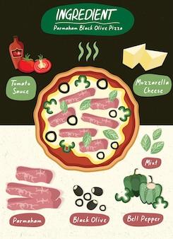 Conjunto de ingredientes para pizza em restaurante de comida