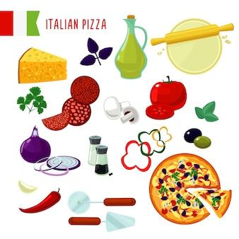 Conjunto de ingredientes para pizza italiana de desenho animado