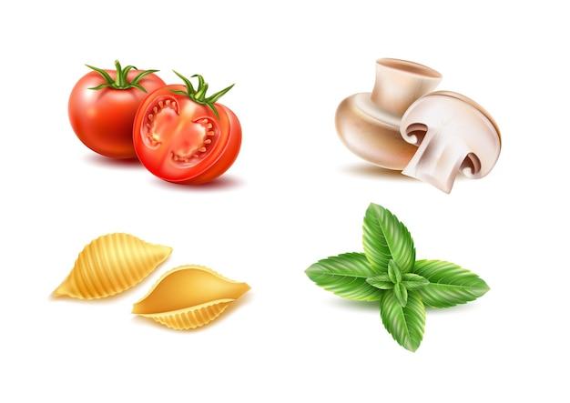 Conjunto de ingredientes realistas da massa tradicional italiana.