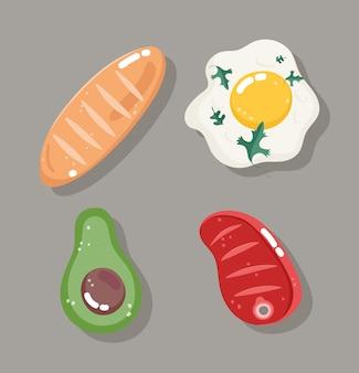 Conjunto de ingredientes saudáveis