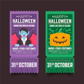 Conjunto de ingressos de halloween de design plano