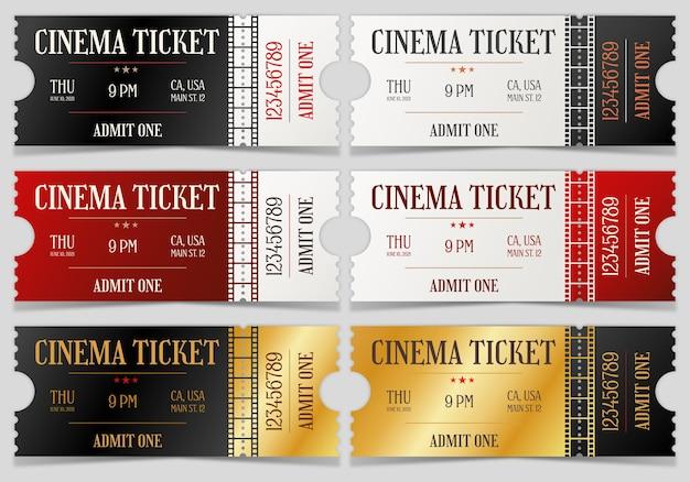 Conjunto de ingressos de vetor vintage de cinema