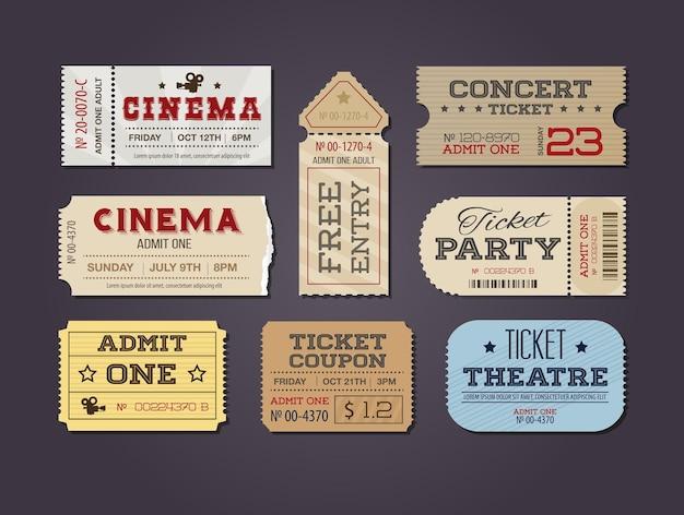 Conjunto de ingressos e cupons de teatro e cinema