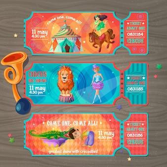 Conjunto de ingressos para o cartoon circus show