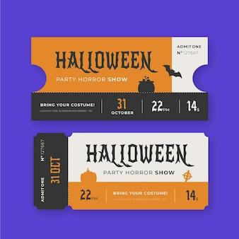 Conjunto de ingressos vintage para o halloween