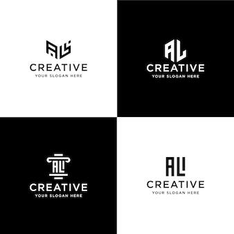 Conjunto de iniciais da coleção al modelo de design de logotipo