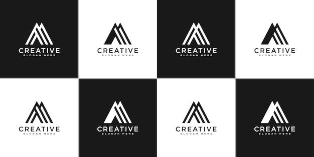 Conjunto de iniciais da letra m desenho de logotipo abstrato