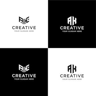 Conjunto de iniciais de coleção ak logotipo modelo de design