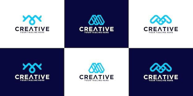 Conjunto de iniciais m, adequado para logotipos de empresas financeiras, comerciais e de tecnologia