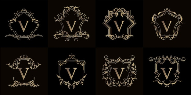 Conjunto de inicial do logotipo com ornamento de luxo ou moldura de flor