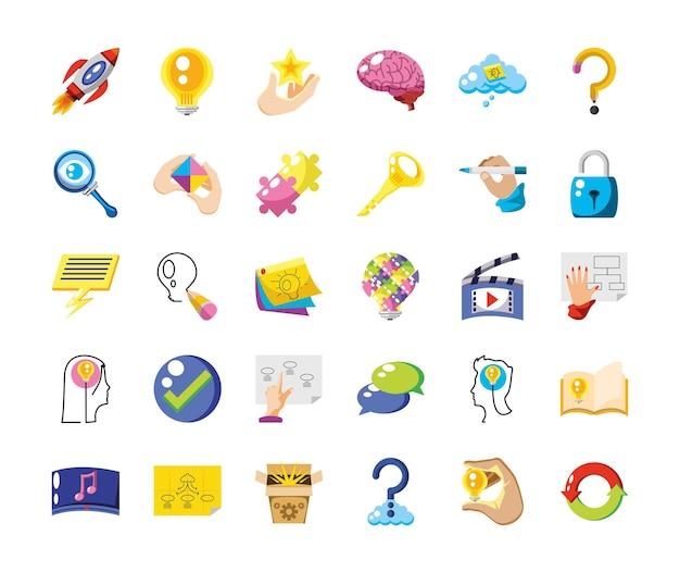 Conjunto de inovação de ideias de inspiração de criatividade