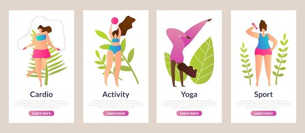 Conjunto de inscrição cardio, atividade, yoga e esporte.