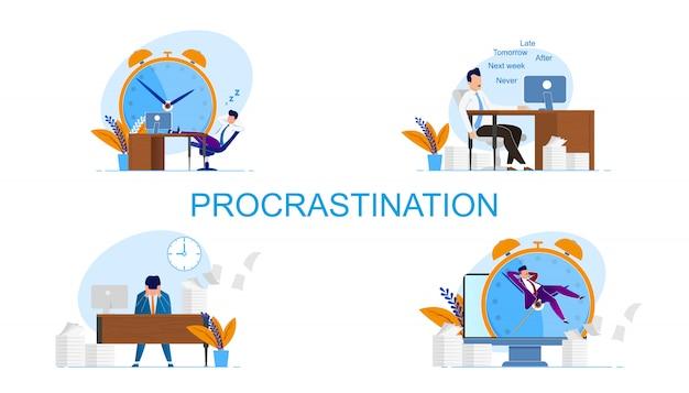 Conjunto de inscrição de inscrição procrastinação. homem se sente culpado por prazos