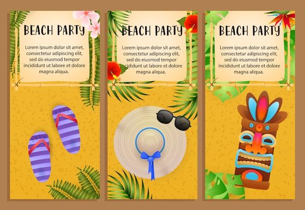 Conjunto de inscrições beach party, máscara tribal, flip-flops, chapéu de praia