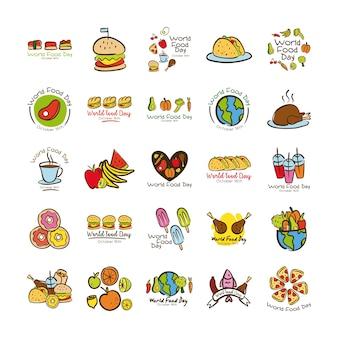 Conjunto de inscrições de celebração do dia mundial da comida estilo simples ilustração vetorial design
