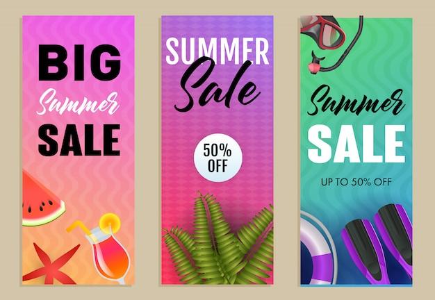 Conjunto de inscrições de grande venda de verão, nadadeiras, melancia e snorkel