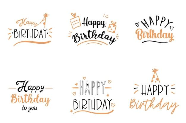 Conjunto de inscrições de letras de feliz aniversário. ilustração vetorial.
