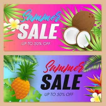 Conjunto de inscrições de venda de verão, cocos e abacaxi