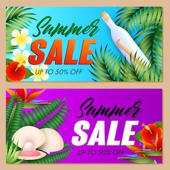 Conjunto de inscrições de venda de verão, concha do mar e garrafa com rolagem
