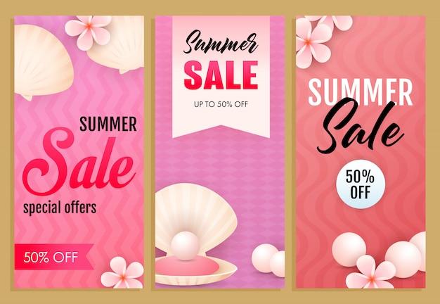 Conjunto de inscrições de venda de verão, conchas do mar, pérolas e flores