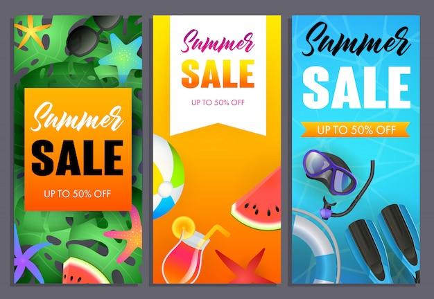 Conjunto de inscrições de venda de verão, equipamento de mergulho e melancia