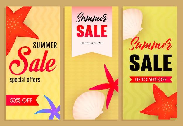 Conjunto de inscrições de venda de verão, estrelas do mar e conchas
