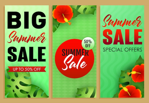 Conjunto de inscrições de venda de verão, plantas e flores tropicais