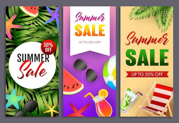 Conjunto de inscrições de venda de verão, plantas tropicais, chaise longue