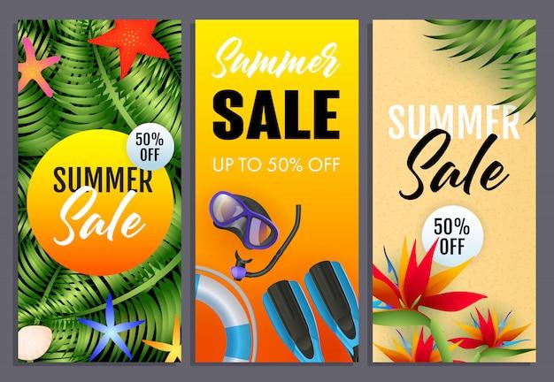 Conjunto de inscrições de venda de verão, plantas tropicais, máscara de mergulho, snorkel