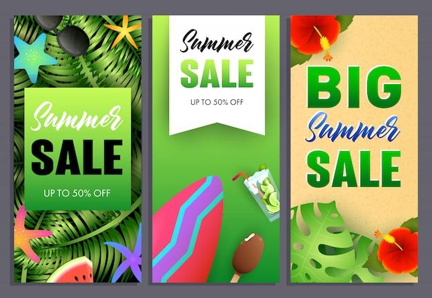 Conjunto de inscrições de venda grande verão, plantas tropicais e prancha de surf