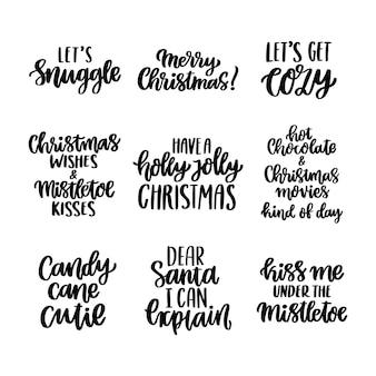 Conjunto de inscrições desenhadas à mão para as férias de natal