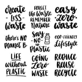 Conjunto de inscrições desenhadas à mão sobre um tema desperdício zero em um fundo branco