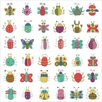Conjunto de insetos de borboleta, insetos