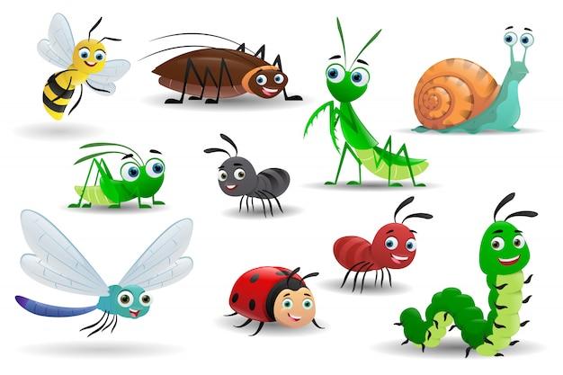 Conjunto de insetos de desenho animado em branco