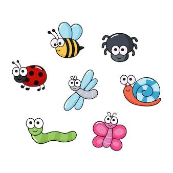Conjunto de insetos engraçados. insetos dos desenhos animados isolados