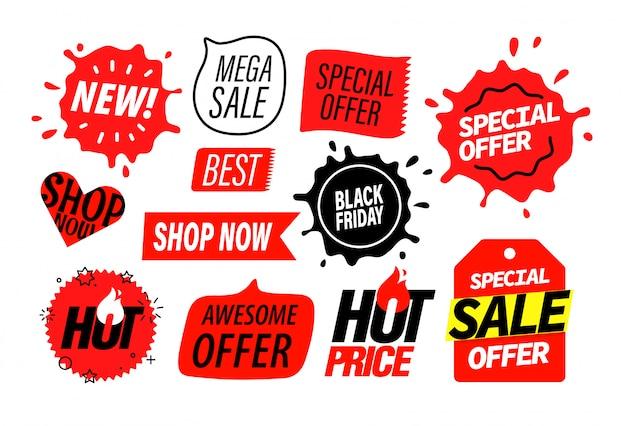 Conjunto de insígnias de publicidade, elementos do banner de venda