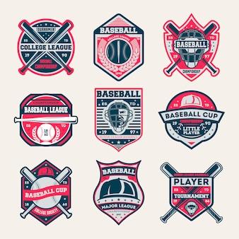 Conjunto de insígnias isoladas vintage de campeonato de beisebol