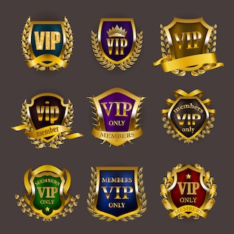 Conjunto de insígnias vip ouro
