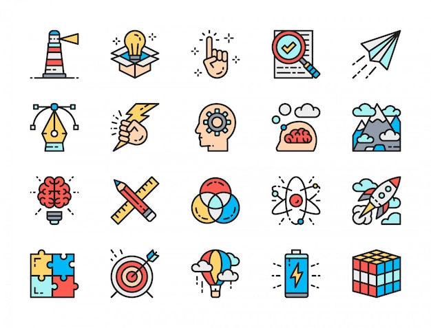 Conjunto de inspiração cor plana linha ícones. inovação, bateria, quebra-cabeça e muito mais.