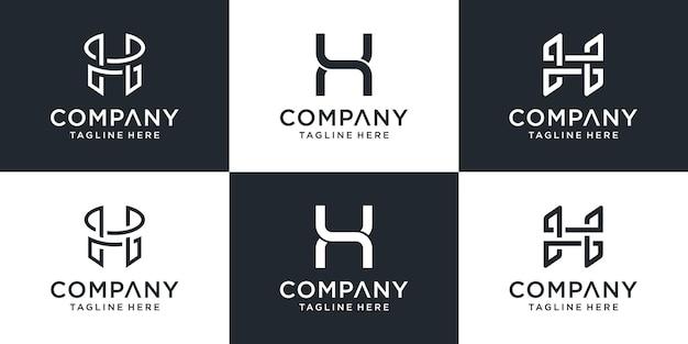Conjunto de inspiração criativa para o design do logotipo da letra h do monograma abstrato