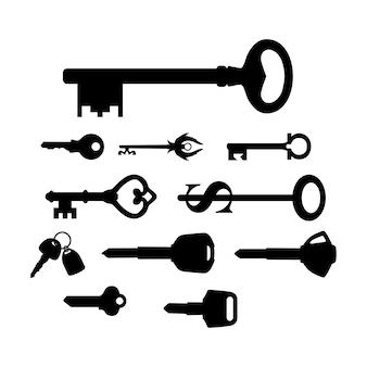 Conjunto de inspiração de design chave, motocicleta, carro, casa, seguro, armazém, não, novo, antigo, vintage