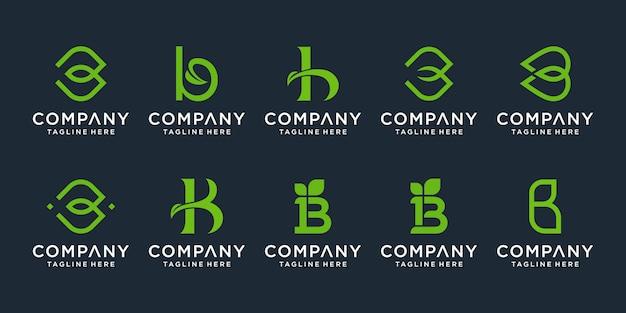 Conjunto de inspiração de design de logotipo criativo letra b monograma