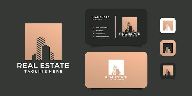 Conjunto de inspiração de design de logotipo de construção de edifícios de luxo.